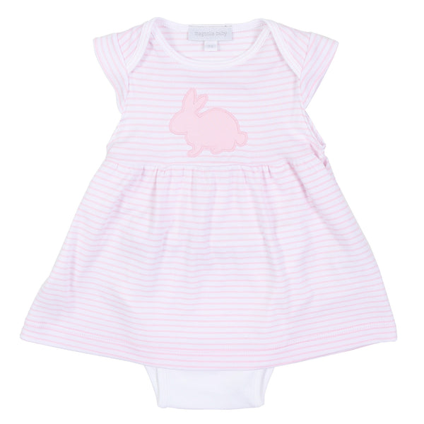 Pink Sweet Bunny Applique Dress Set