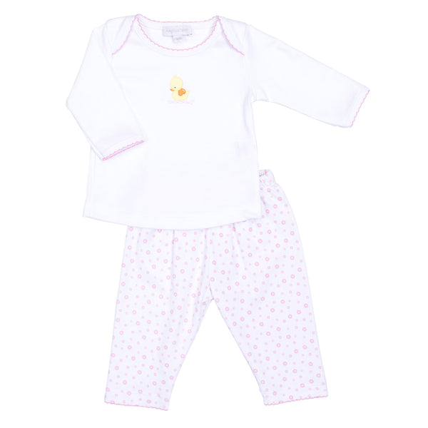 Pink Bubbles Embroidered Pant Set