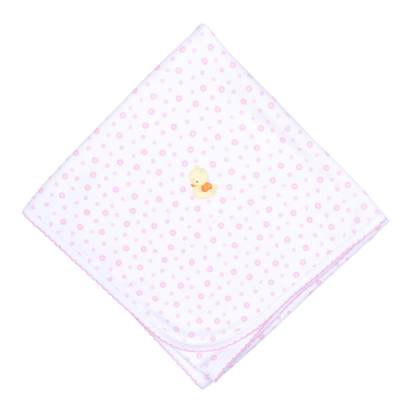Pink Bubbles Embroidered Receiving Blanket