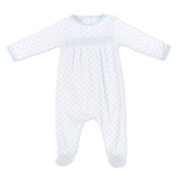 Magnolia Baby Essentials Blue Gingham Dots Smocked Footie