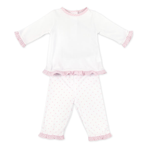 Magnolia Baby Essentials Pink Gingham Dots Pants Set