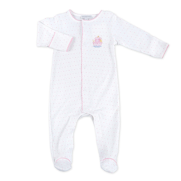 Magnolia Baby Essentials Pink Embroidered Noah's Friends Footie