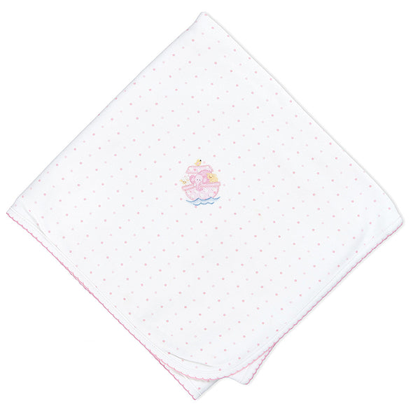 Magnolia Baby Noah's Friends Pink Embroidered Blanket
