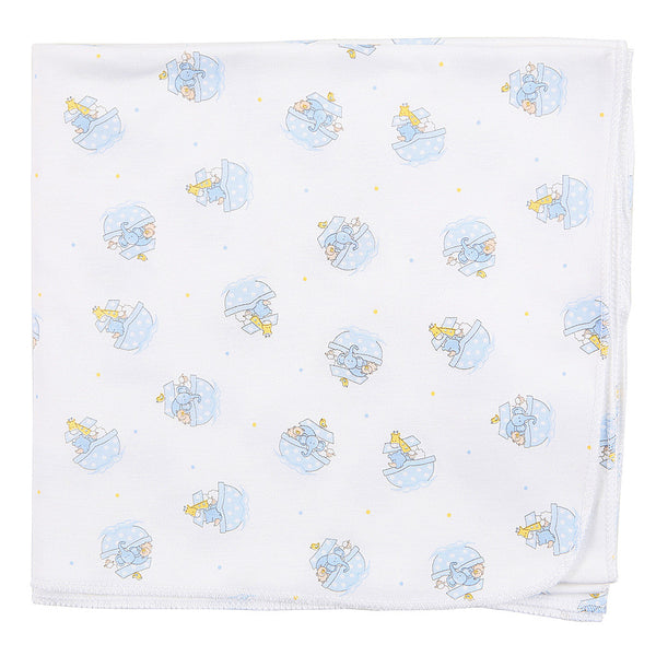 Magnolia Baby Noah's Friends Blue Print Swaddle Blanket