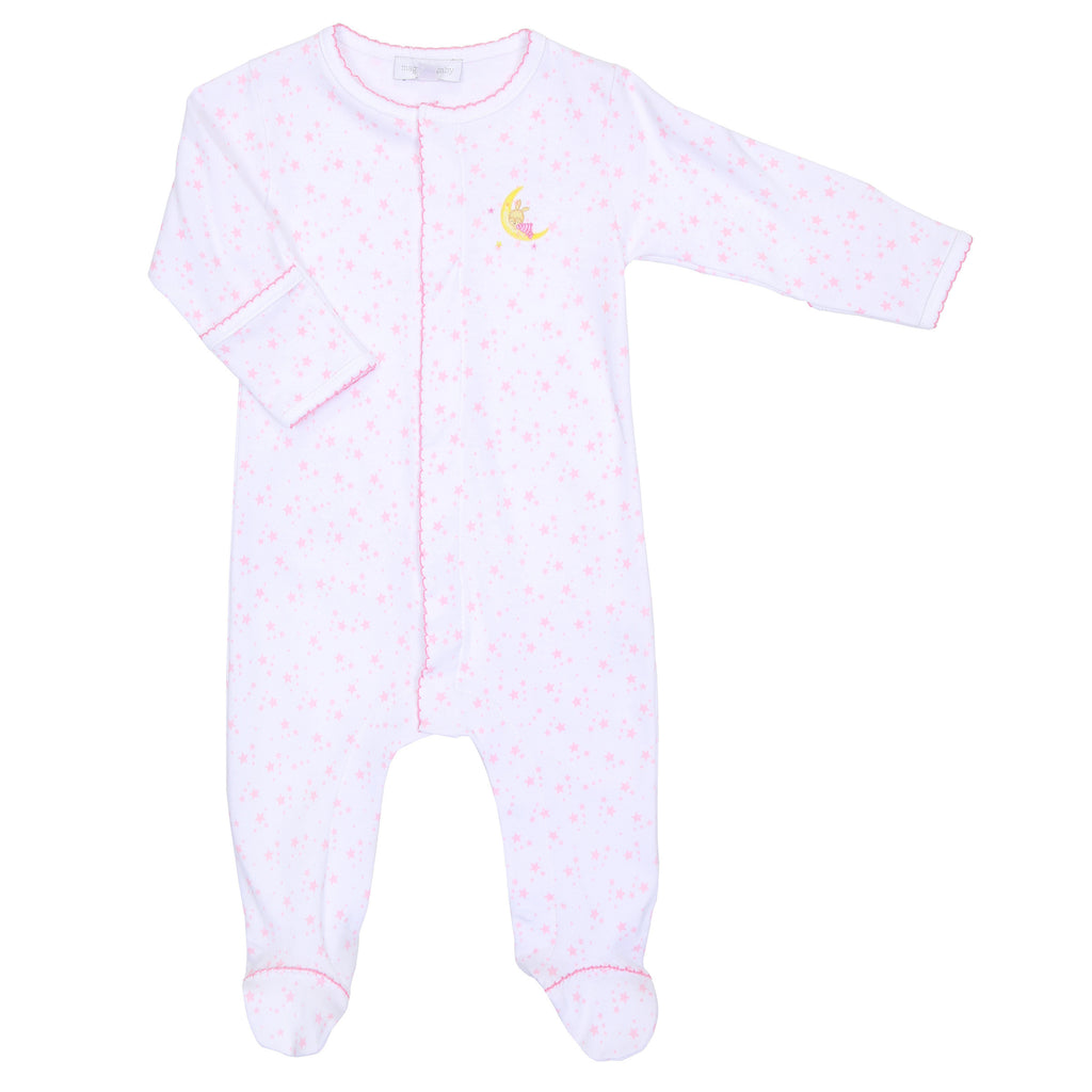 Pink Sleepy Bunny Embroidered Footie