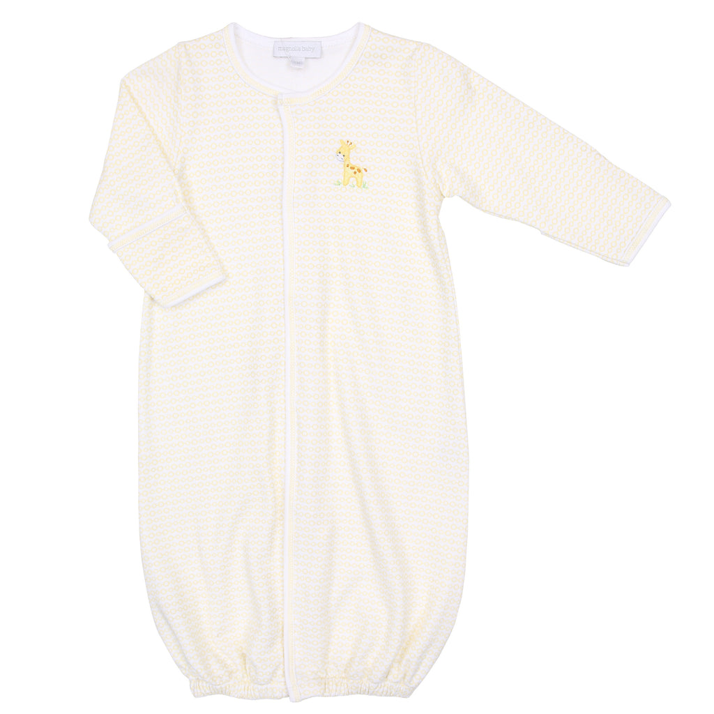 Yellow Darling Giraffes Embroidered Converter Gown