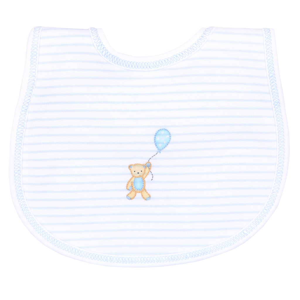 Blue Beary Sweet Embroidered Bib