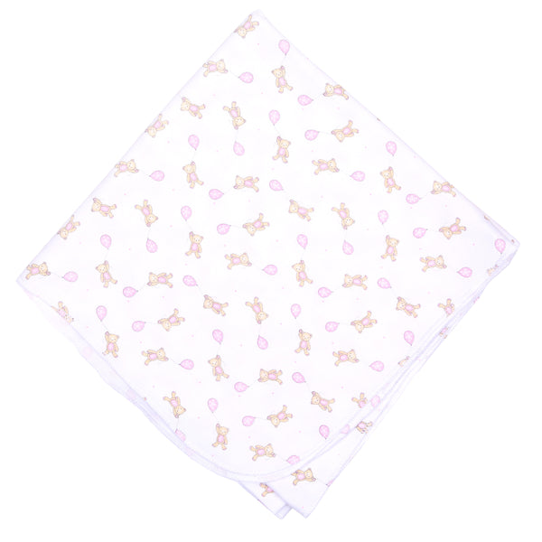 Pink Beary Sweet Print Swaddle Blanket
