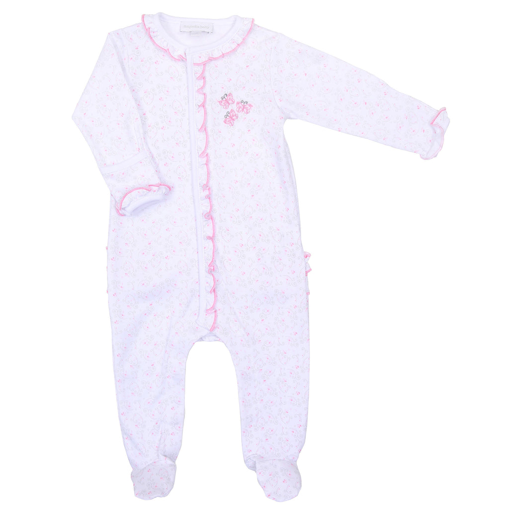 Pink Hannah's Love Embroidered Ruffle Footie