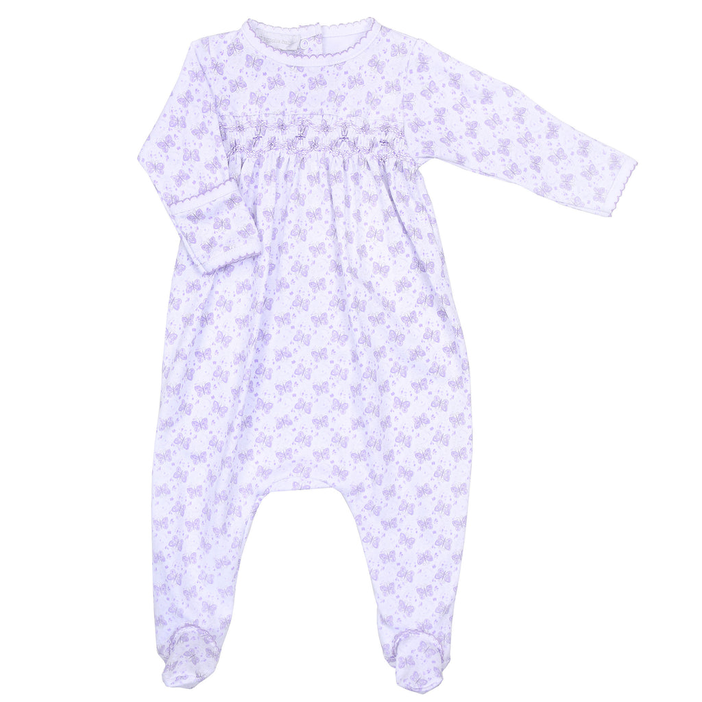 Lilac Hannah's Love Smocked Footie