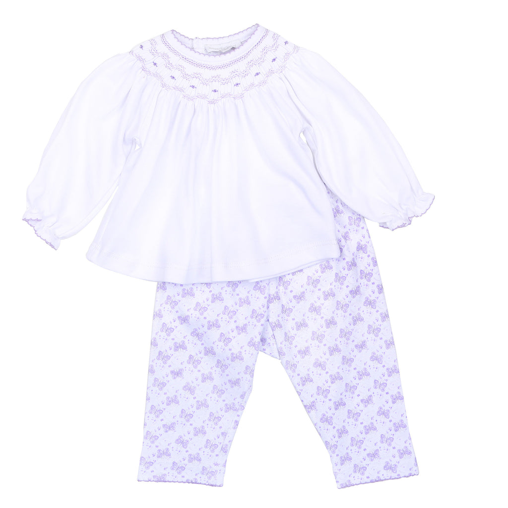 Lilac Hannah's Love Bishop Smocked Pant Set