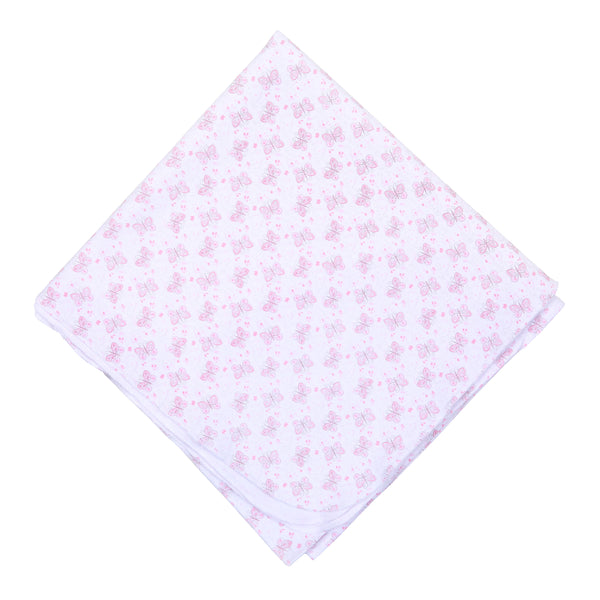 Pink Hannah's Love Print Swaddle Blanket