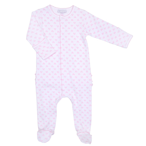 Pink Beautiful Bows Print Ruffle Footie
