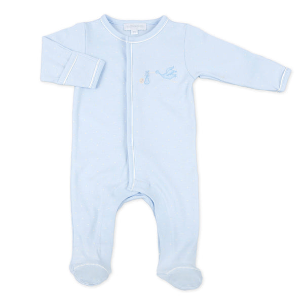 Magnolia Baby Essentials Blue Worth the Wait Embroidered Footie