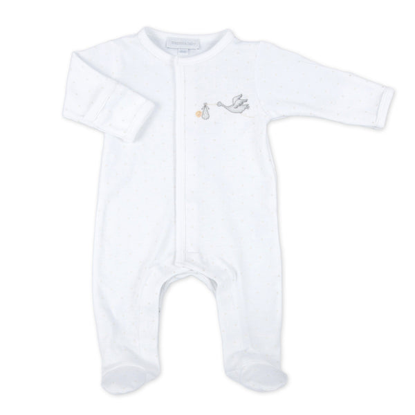 Magnolia Baby White Worth the Wait Embroidered Footie