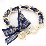 Piper Plaid Bow Bracelet in Navy