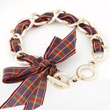 Piper Plaid Bow Bracelet in Plum