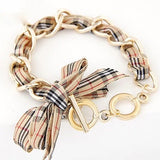 Piper Plaid Bow Bracelet in Khaki