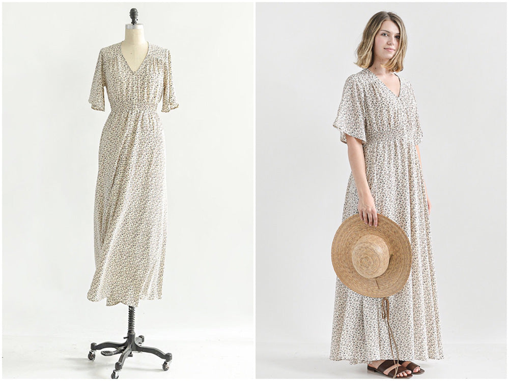 New Arrivals / Vintage Inspired Feminine Tan Floral Maxi Dress