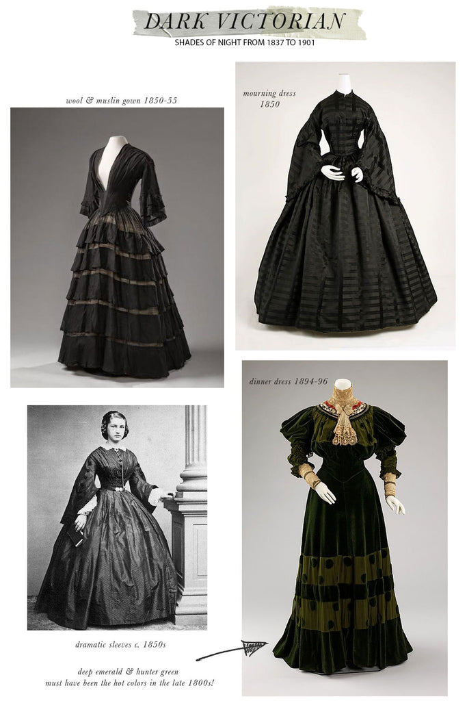 Dark Victorian / Antique Victorian Fashions from 1837 - 1901 in Shades of Evening