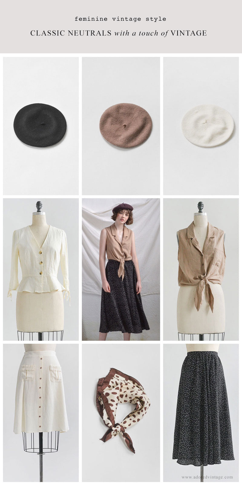 Feminine Vintage Inspired Style / Classic Neutrals and a Hint of Vintage