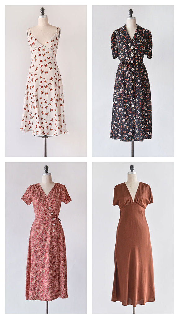 Feminine Vintage Inspired Clothing / Autumnal Dresses in Classic Separates
