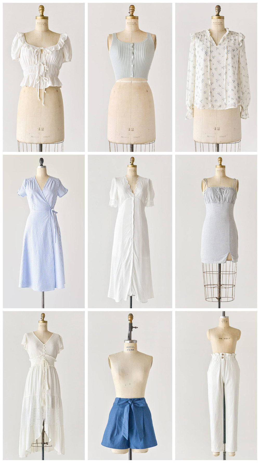 Shop timeless and feminine blue and white clothing for summer at Adored Vintage