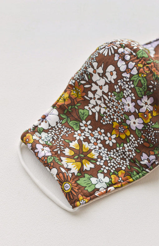 Vintage Floral Face Mask - Brown
