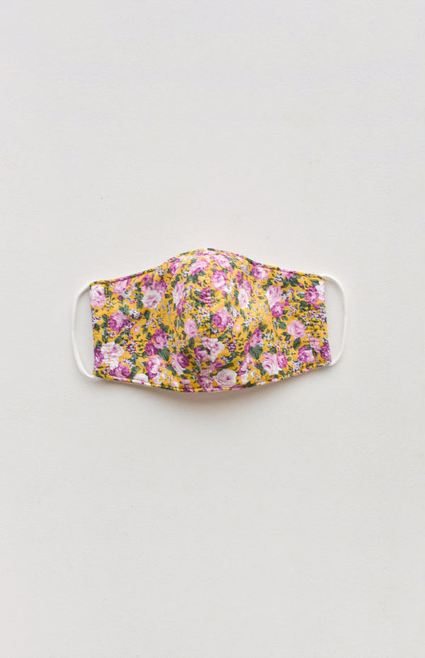 Vintage Floral Face Mask - Yellow