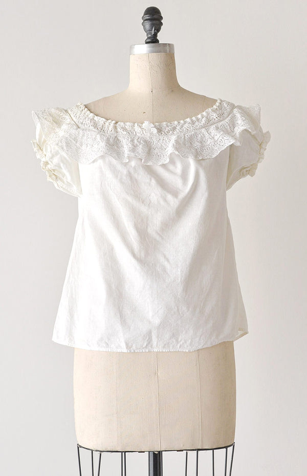Vintage 1940s Clothing / Vintage 40s Peasant Top / Sweetly Gathered Top