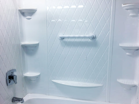 Interlock Grab Bar mounted to a fiberglass shower