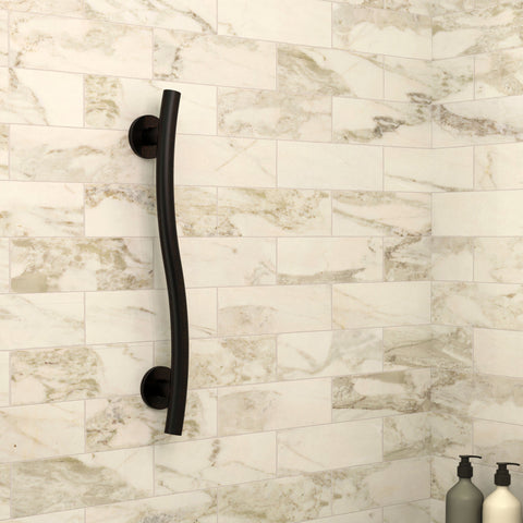 Oil Rubbed Bronze Wave Designer Grab Bar - Grab-Bar.com