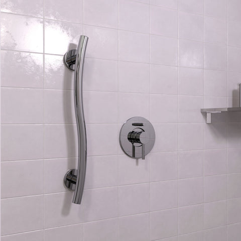 Wave Grab Bar Polished Chrome - Grab-Bar.com