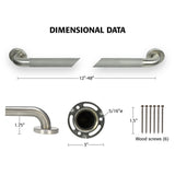 "Straight Stainless Steel Grab Bar With Safety Grip and Cover Flange - 1 1/2"" Diameter - Grab-Bar.com"