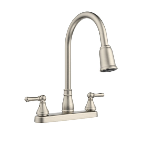 Belanger Non-Metallic Two Handle Pull-Down Kitchen Faucet, Brushed Nickel