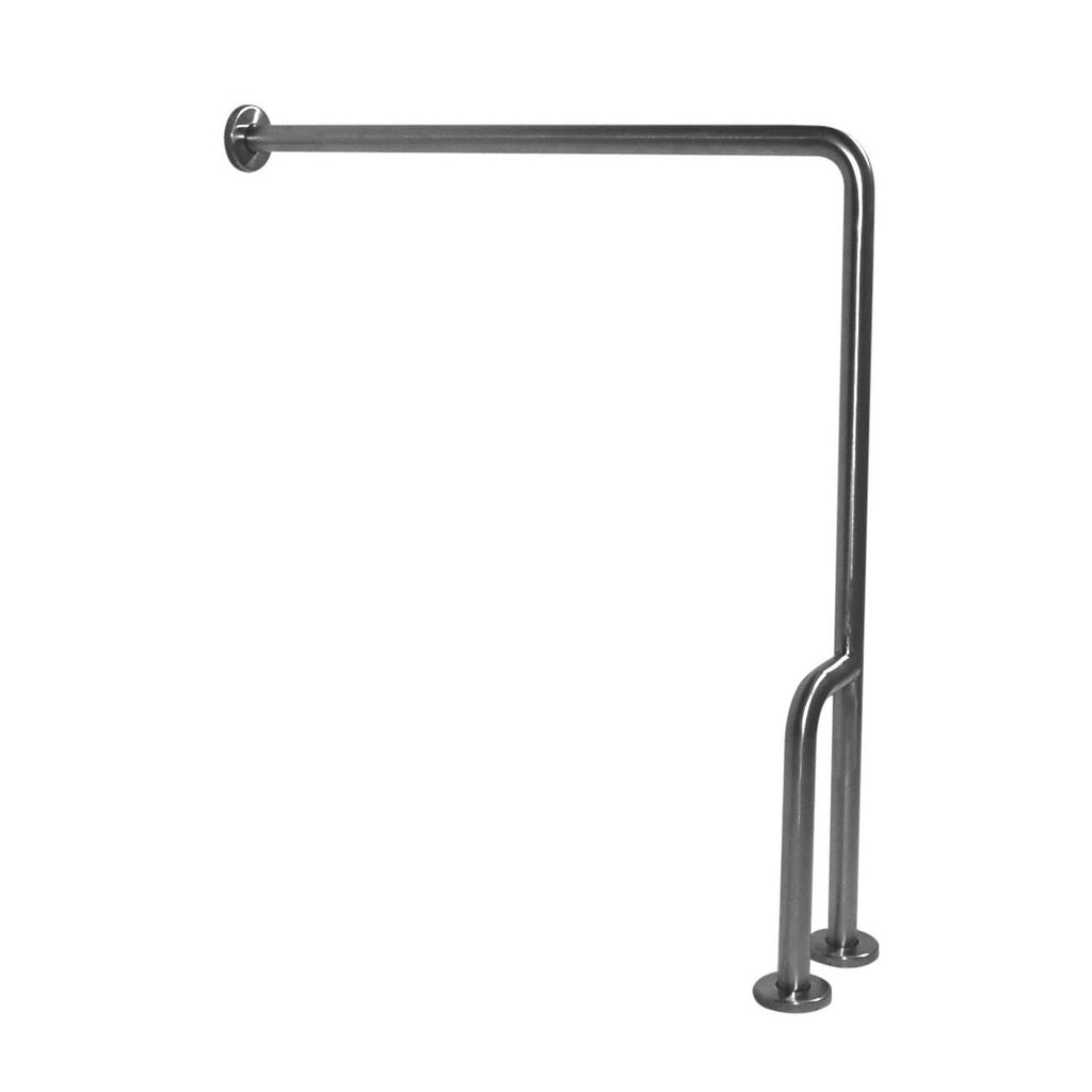 "Satin Stainless Steel 90ŒÁ Wall to Floor Grab Bar with Outrigger, Left, G55JCL38 - 30"" x 33"" - Grab-Bar.com"