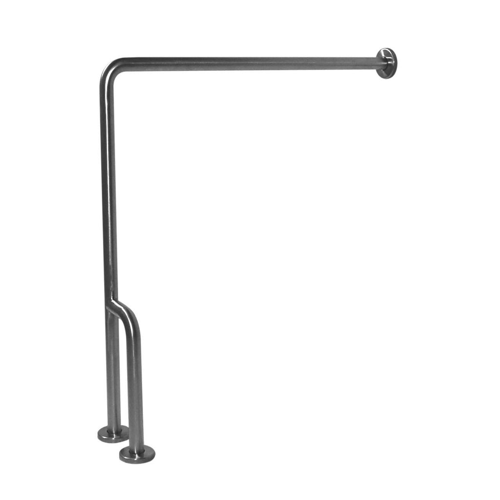 "Satin Stainless Steel 90 Degree Wall to Floor Grab Bar with Outrigger, Right, G55JCR38 – 30"" x 33"" - Grab-Bar.com"