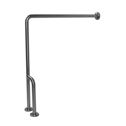 "Satin Stainless Steel 30"" x 33"" 90° Wall to Floor Grab Bar with Outrigger, Right,"