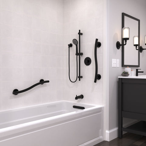 Wave Grab Bar Matte Black - Grab-Bar.com