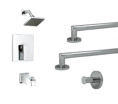 Shower Safety Kit with Bathtub Faucet and Square Showerhead (Polished Chrome) - Grab-Bar.com