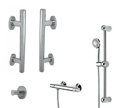Shower Safety Kit with Belanger Thermostatic Valve with Hand Shower Sliding Bar Kit (Polished Chrome) - Grab-Bar.com