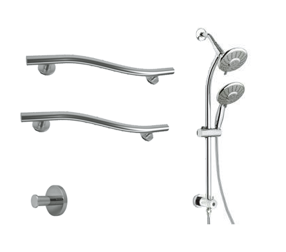 Shower Safety Kit with Belanger Slide Bar Mounted Hand and Fixed Showerhead Kit (Polished Chrome) - Grab-Bar.com
