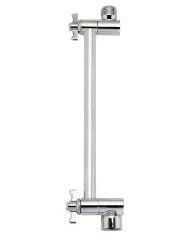 Adjustable Shower Arm With Swing Style Height, Polished Chrome - Grab-Bar.com