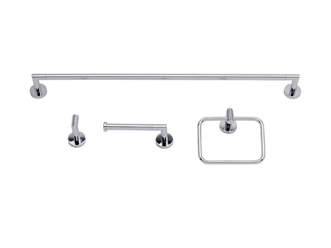 Circular Design Bathroom Accessory Combo Kit, Polished Chrome