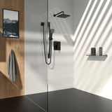 Square Shower Faucet with Pressure Balanced Diverter Valve, Matte Black - Grab-Bar.com