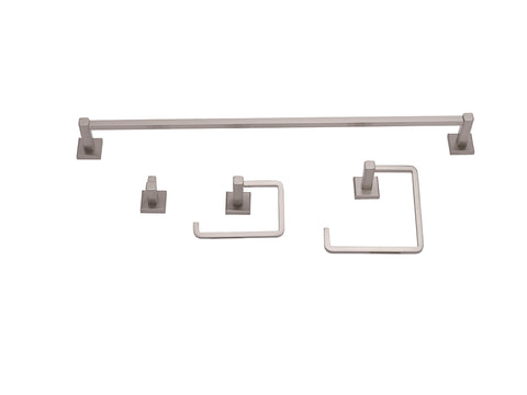 Square Bathroom Accessory Kit, Satin Finish