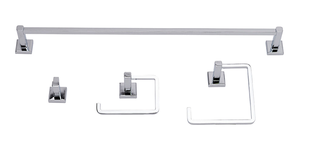 Square Bathroom Accessory Kit, Polished Chrome