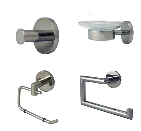 Architectural Bathroom Decor Bundle (Brushed Nickel) - Grab-Bar.com