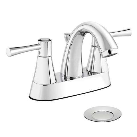 Belanger Two Handle Centerset Bathroom Faucet with Drain, Polished Chrome