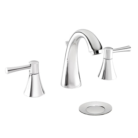 Belanger Widespread Two Handle Bathroom Faucet with Drain, Polished Chrome